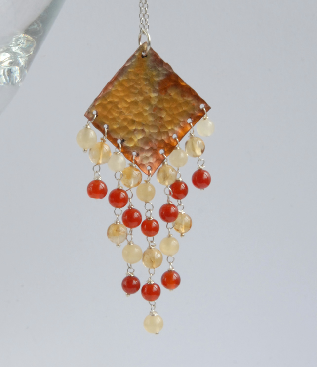 Larger fringed copper pendant with sterling silver chain (orange, red, yellow)