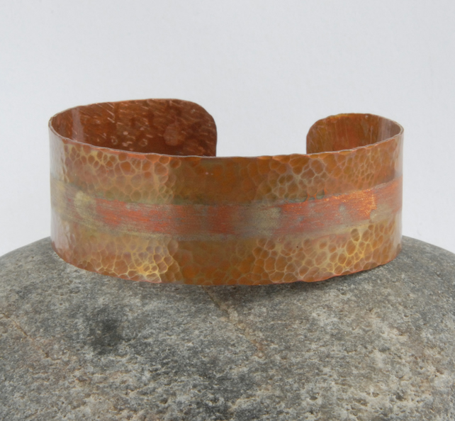 skinny textured copper cuff - heat treated
