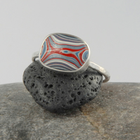 Vintage Fordite (dagenham agate) and sterling silver ring - blue red white