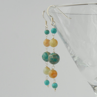 Long blue and yellow sterling silver earrings (jasper, amazonite, turquoise)