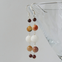 Long cream and mustard beaded sterling silver earrings (coral, mookaite)
