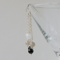 Monochrome sterling silver dangle earrings (onyx, white jade, labradorite)