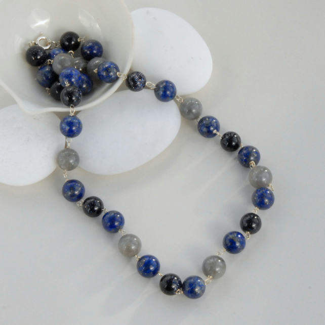 Royal blue lapis, navy goldstone and labradorite beaded sterling silver necklace