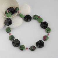 ruby zoisite and onyx beaded sterling silver necklace (green, pink, red, black)