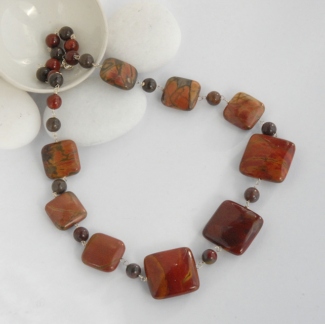 Autumnal tones beaded mookaite silver necklace (red, brown, maroon)