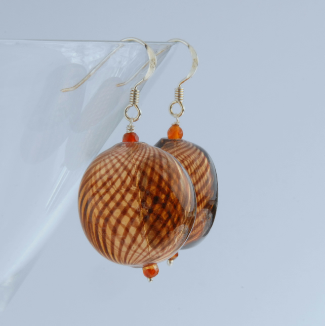 Large blown glass and silver earrings (brown)