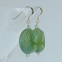 Large blown glass and silver earrings (aqua blue and green)