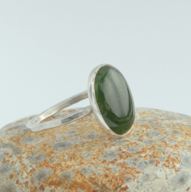 Canadian green jade and sterling silver ring