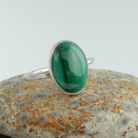 Green stripy malachite and sterling silver ring