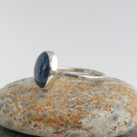 Denim blue lapis and sterling silver ring