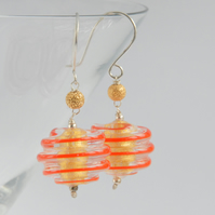 Gold foil and orange swirl murano glass bead with sterling silver earrings