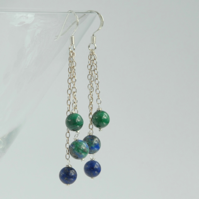blue and green sterling silver dangle earrings (lapis, malachite, chrysocolla)
