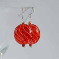 Large blown glass and silver earrings (red with wide black twist)