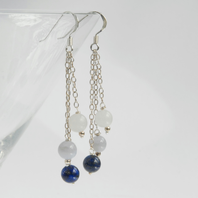 blue and white sterling silver dangle earrings (lapis, lace agate, white jade)