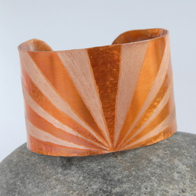 Sunburst statement textured copper cuff