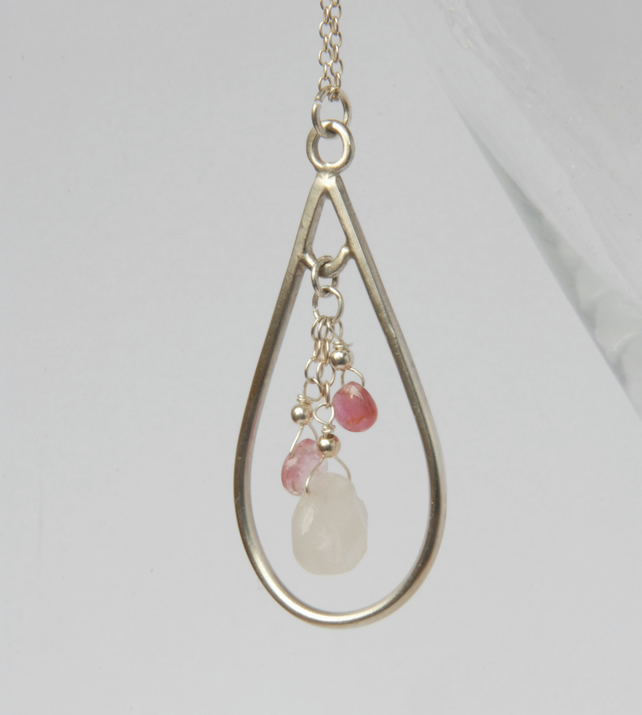 Sterling silver and rose quartz with pink tourmaline drop pendant