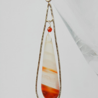 Sterling silver and banded agate frame pendant