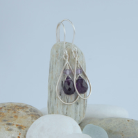 Sterling silver and amethyst drop earrings