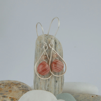 Rhodochrosite and sterling silver tear drop earrings (peach pink)