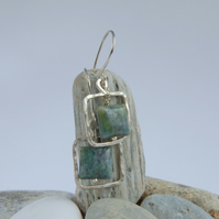 Sterling silver and minty green fuchsite square drop earrings