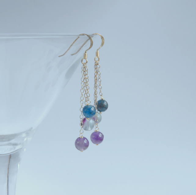 Dangly sterling silver earrings with amethyst, fluorite and apatite.