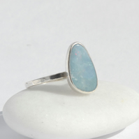 Blue boulder opal and sterling silver ring