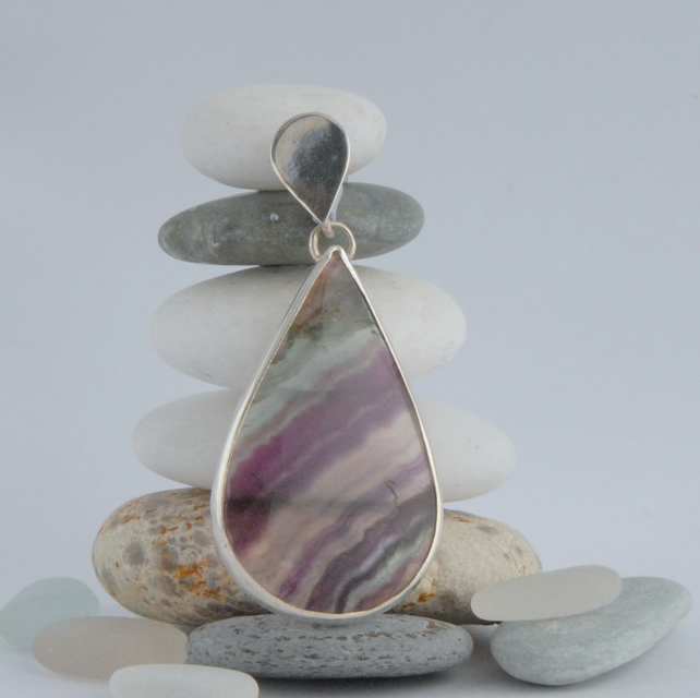Sterling silver and purple green banded rainbow fluorite drop pendant