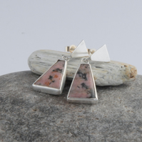 Sterling silver and rhodonite stud top drop earrings (pink and black)