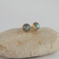 Sterling silver and facetted labradorite stud earrings