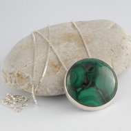 Sterling silver and green malachite circular pendant
