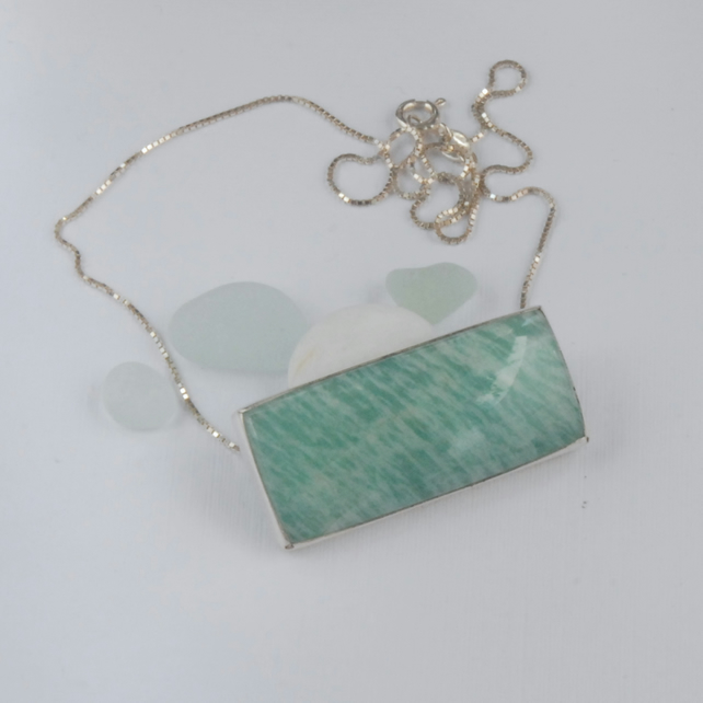 Sterling silver and minty green amazonite rectangular slider pendant