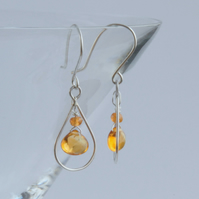 Sterling silver and citrine frame drop earrings