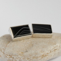 Monochrome striped onyx and sterling silver cufflinks