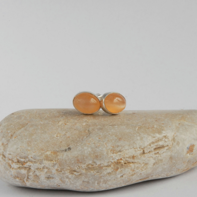 Sterling silver and peach moonstone stud earrings
