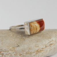 Sterling silver and red cream mookaite ring