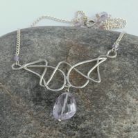 Art Nouveau style sterling silver and lilac amethyst necklace
