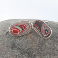 Sterling Silver and Multi Coloured Dagenham Fordite Cufflinks