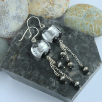 Long dangly black and silver murano glass sterling silver earrings