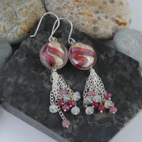 Ruby, opal and murano glass silver tassel dangle earrings