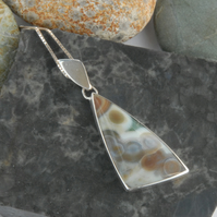 Sterling silver and ocean jasper pendant