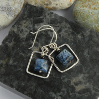 Royal blue dumortierite and sterling silver square earrings