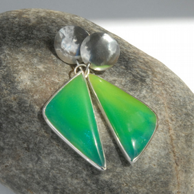 Statement asymmetric bright green bowlerite and sterling silver earrings