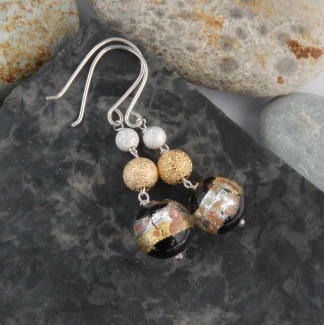 Black, silver and gold murano glass earrings