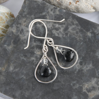Sterling silver and black tourmalinated quartz drop earrings