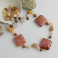 Mookaite and rose quartz beaded sterling silver necklace (pink, cream, yellow)