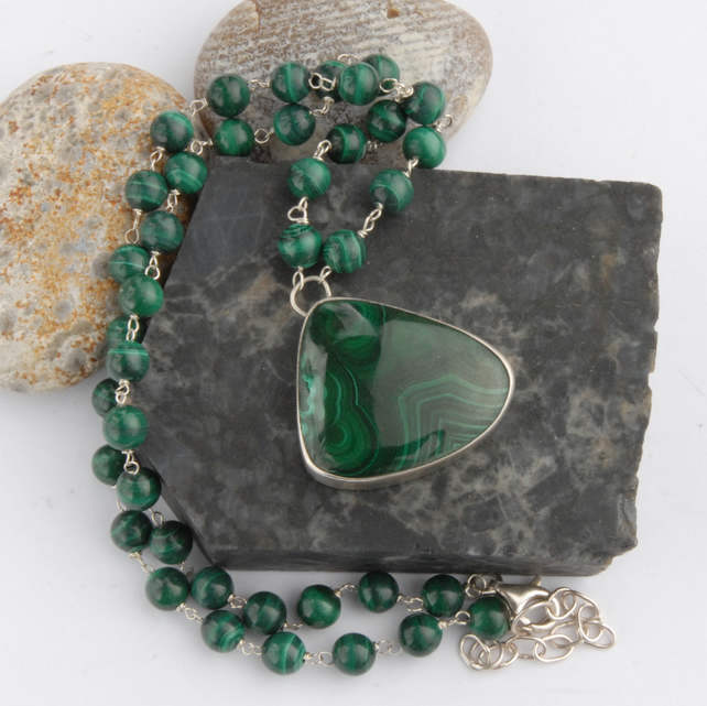 Sterling silver and green malachite necklace