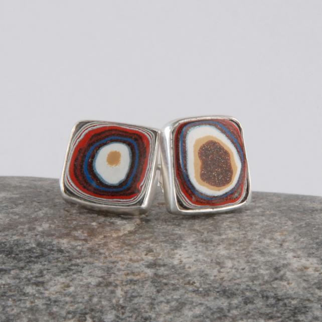 Larger sterling silver and fordite square stud earrings