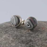 Sterling silver and detroit fordite stud earrings