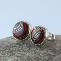 Sterling silver and corvette fordite stud earrings
