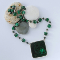 Statement dark green malachite necklace